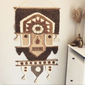 Vintage Large Mid Century Woven Tapestry Macrame